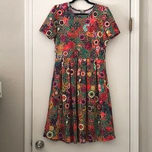 LulaRoe Amelia XL Stripes and Floral Dress